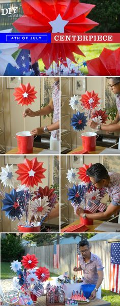 How does one kick it up a notch on decorating for a 4th of July party when the color palette is always red, white, & blue? Let Will show you how to create his amazing fireworks-inspired centerpiece from Hallmark Community. All you'll need to create this festive decoration is a few craft store items, mini American flags, and tissue paper!