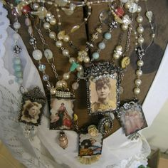 Soldered Glass Assemblage Necklaces by Marsha Goldblatt, Vintagearts