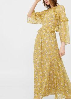 Vestido floral volantes -  Mujer | MANGO España