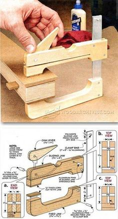 DIY Cam Clamp - Clamp and Clamping Tips, Jigs and Fixtures. Wood Tools, Diy Tools, Woodworking Clamps, Woodworking Projects, Woodworking Organization, Woodworking Equipment, Woodworking Videos, Woodworking Furniture, Cam Clamp