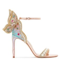 Fit for a princess, our Chiara has been elevated with a new wing shape, embellished with crystals, pearls and gems on an ombre heel. Finished with rose gold ankle strap and footbed. Ankle Strap Heels, Ankle Straps, Butterfly Heels, Sophia Webster Shoes, Bridal Heels, Funky Shoes, Beautiful High Heels, Satin Pumps, Latest Shoes