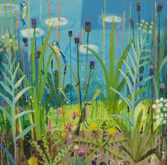 Waterside Plants by Mary Sumner Nature Illustration, Graphic Illustration, Garden Painting, Garden Art, Creative Artwork, Painting Still Life, Botanical Flowers, Landscape Paintings, Abstract Landscape