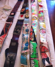 How could I repurpose old belts with painted canvas scraps?