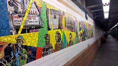 Mosaic Tile Art - 116th St Station of the 2/3 Subway in Manhattan.