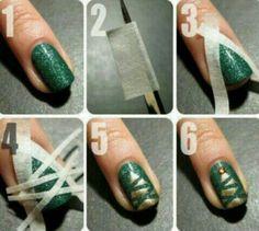 :) christmas tree nails
