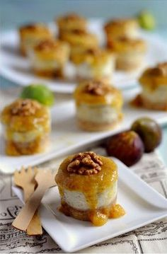 Mini Cheesecakes, Gourmet Recipes, Sweet Recipes, Spicy Recipes, Healthy Recipes, Finger Desserts, Catering Food, Xmas Food, Food Decoration