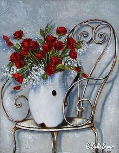 Art by Stella Bruwer white enamel pitcher red roses on wire chair