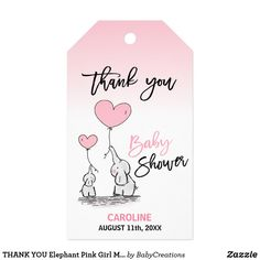 THANK YOU Elephant Pink Girl Mommy & BABY SHOWER