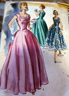 LOVELY VTG 1950s EVENING DRESS McCALLS Sewing Pattern 16/34