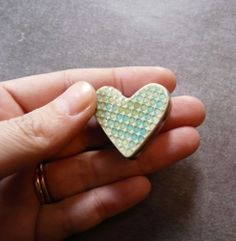 Image of Hollow Double Sided Heart Box Bead in Olive & Tuquoise - Dots