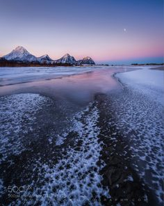 Frozen creek and setting moon by Nordhaug-photography  sky sunrise mountains winter river moon snow norway ice steigen Frozen creek and setting moon Nordha
