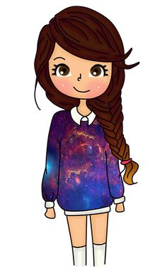 Find images and videos about galaxy and vintagedollpgn on We Heart It - the app to get lost in what you love. Kawaii Girl Drawings, Girly Drawings, Cartoon Girl Drawing, Girl Cartoon, Cartoon Drawings, Easy Drawings, Tumbler Drawings, Oblyvian Girls, Dibujos Zentangle Art