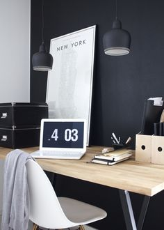 Office Workspaces | Inspiration | Home Decor | Black | Minimal | Mac | Eames Chair |
