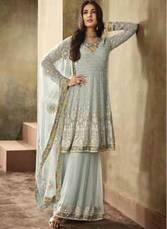 Looking to buy salwar kameez? ✓ Shop the latest dresses from India at Lashkaraa & get a wide range of salwar kameez from party wear to casual salwar suits! Indian Dresses For Women, Sharara Designs, Indian Suits, Indian Wear, Punjabi Suits, Indian Style, Indian Attire, Sharara Suit, Anarkali Suits