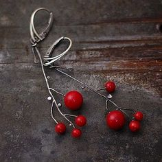 flower red coral  earrings sterling silver on Etsy, $56.00
