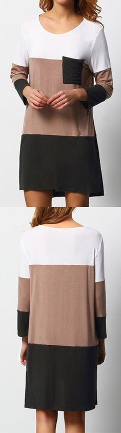 Black White Color Block Pockets Dress. US$9.90