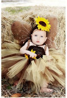 #Princess 1st Birthday #Tutu Dress, Flower Girl Tutu #Dress, Short Tutu Party Dress Brown, Baby Girl #Outfits, Sunflower, Baby #Headband Toddlers & Infants