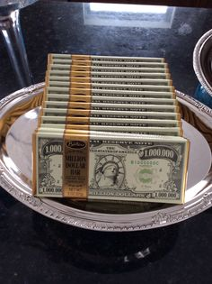 There's no Tiffany party without money. Chocolate one million dollar bars.