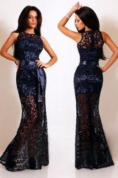 vestido de renda fashion women sexy long dress ladies new Red White Navy Blue Lace Satin Patchwork Maxi Party Dress LC6809