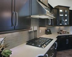 Kitchen Backsplash I love these cabinets. We are getting espresso cabinets for sure