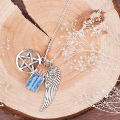 Supernatural - Blue Salt, Pentagram and Wing Necklace (Free Shipping)