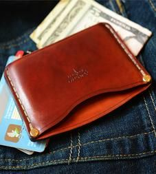 Slim Leather Wallet by The Leather Shop on Scoutmob Saddle Leather, Leather Gloves, Leather Men, Slim Leather Wallet, Handmade Leather Wallet, Mens Slim Wallet, Coin Wallet, Credit Card Wallet, Stitching Leather