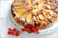 Aan Jeanne`s Keukentafel: Perzik Rode Bessen taart
