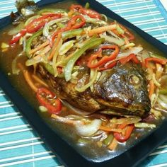 Try this easy recipe for a colorful, tangy-sweet Filipino Escabeche or Sweet and Sour Fish and bring your plain fried fish to the next level of goodness. Fish Recipes, Seafood Recipes, Asian Recipes, Cooking Recipes, Ethnic Recipes, Asian Foods, Vegetarian Recipes, Dinner Recipes, Pisces