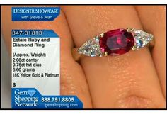 Estate ruby and diamond ring. This platinum ring features the traditional 18k yellow gold mount for the ruby itself. The diamonds to each side of the ruby are of a nice size to balance and set off this lovely ruby ring.