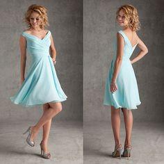 Free Shipping A-line Sexy V Neckline Chiffon Knee Length Short Bridesmaid Dresses Light Sky Blue Wedding Party Dress BR-056 US $95.85