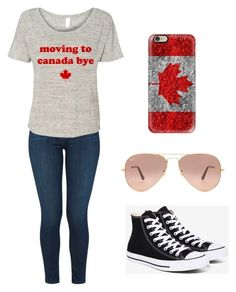 """Canada"" by fangirlmendes on Polyvore featuring J Brand, Casetify, Converse and Ray-Ban"