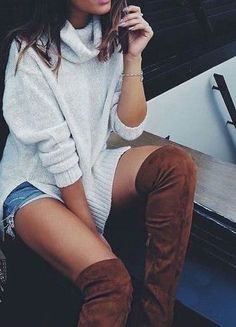 brown over the knee boots.