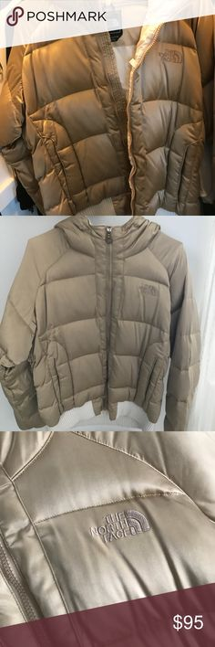 North Face Jacket! Super unique gold, North Face Jacket! In like new condition, only worn a handful of times! Also has a large pocket inside. A few feathers poking out as seen in the pictures. Size L-XL Cover photo is most accurate depiction of the gold color. The North Face Jackets & Coats Puffers