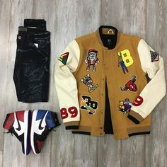 Outfit Grid, My Outfit, Custom Letterman Jacket, Hype Clothing, Retro, Swagg, Atlanta, Cool Outfits, Street Wear