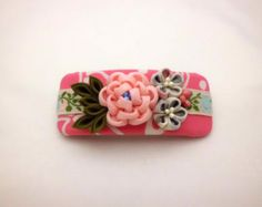 Soft pink cute flowers kanzashi inspired on French by JagataraArt