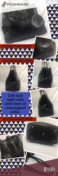Dooney & Bourke Vintage Black LARGE Leather Bag Dooney & Bourke Vintage Black Textured Very Large Leather Bag.  Solid brass hardware and buckle closure. Serial number M6491 667.  Large tote has almost imperceptible wear on top straps.  Nice interior with large zip pocket, one slip pocket, and one key leash.  5 Peg feet. Lovely condition and has been taken extremely good care of since 2002. Perfect for the person who carries a large purse or even for a weekend travel bag. Bag measures 12.5 x…