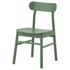 RÖNNINGE Chair, green. The robust construction is softened by the visible grains of the wood, giving the chair a warm and homey feeling. The straightforward design, rooted in chairs of the 50's and 60's, fits almost anywhere. Ikea Dining Chair, Ikea High Chair, Bar Pas Cher, Dining Area, Dining Table, Design Simples, Ikea Family, Chaise Bar, Dining Chairs