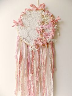 Shabby Pink Dream Catcher Rustic Woodland by ProvencalMarket