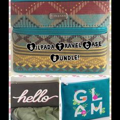 "NWTSilpada Travel Cases Bundle! From the Silpda Designs Accessories Collection Tuscan Jewelry Tote super-spacious, cotton canvas. Colorful, a zip closure, stores 15-20 jewelry items. + a convenient loop on top that makes for ez  in-hand carrying or hanging. Measures 7""L x 5½""H x 6""D.  GLAM  Pouch zip-closure cotton Holds jewelry, makeup, travel essentials, you name it. With a square and compact design.Measures 8""L x 7""H x ½""D. Hello Pouch multi-functional, double-zip cotton Pouch With 2…"