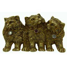 Edwardian 1900s Ruby Diamond Gold Three Cats Pin Brooch 1