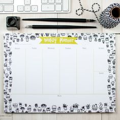 Kickstart Monday with this A4 weekly planner desk pad. 52 tear-off sheets featuring gorgeous hand-designed succulent plants to inspire you through the year.  Perfect for an end of term teacher thank you gift, graduation present or organiser for the new college year or back to school stationery for a new term. Give it as a gift for a stationery lover or just because you deserve a treat.  Plan out each week, keep track of your to-do list or just doodle to your heart's content. Use the weekly…