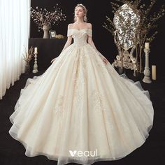 Chic / Beautiful Champagne Bridal Wedding Dresses 2020 Ball Gown Off-The-Shoulder Short Sleeve Backless Appliques Lace Beading Cathedral Train Bridal Robes, Bridal Wedding Dresses, Dream Wedding Dresses, Robes Quinceanera, Belle Silhouette, Fancy Gowns, Princess Ball Gowns, Ball Gowns Evening, Quince Dresses