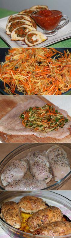 Куриная грудка, фаршированная овощами     Ингредиенты:  Куриное филе — 4 шт.  Лук репчатый — 350 гр....