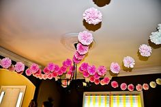 pom pom decor at weddings | Items similar to Wedding decorations - Party pom garland 12 ft. - you ...