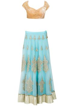 Blue gota applique lehenga with orange blouse available only at Pernia's Pop-Up…