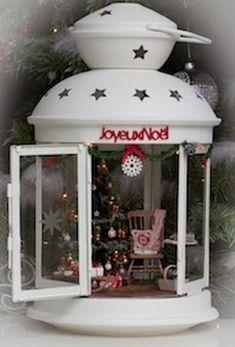 Adorable Vintage Christmas Lantern Decoration Ideas 05