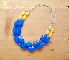 Blue and Yellow colorblock Necklace Blue and by ThatsmineBoutique, $42.00