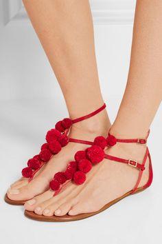 Aquazzura | Pompom-embellished raffia sandals | NET-A-PORTER.COM