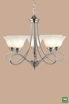 Patriot Lighting® Rianto Chandelier with Brushed Nickel Finish and Alabaster Glass
