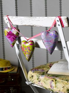 Three Wooden Hanging Decopatch Hearts